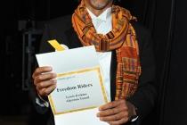 Emmy award winner Aljernon Tunsil backstage at the Academy of Television Arts & Sciences 2011 Primetime Creative Arts Emmy Award