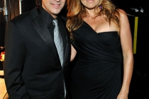 Jason Katims and Connie Britton backstage at the Academy of Television Arts and Sciences 2011 Primetime Creative Arts Emmys