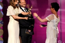 Stana Katic (L) and Andrew W. Marlowe present the Oustanding Hairstyling For A Miniseries or Movie