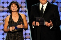 Bonnie Blair (L) and Don Mischer speak onstage during the 62nd Primetime Creative Arts Emmy Awards