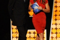 Mark Koops and Jillian Michaels speak onstage during the 62nd Primetime Creative Arts Emmy Awards at Nokia Theatre