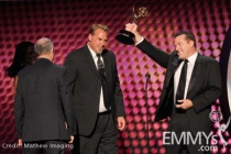 "Winners of Best Sound Mixing for Half-Hour Series for ""Entourage"" and ""Modern Family"" onstage"