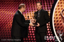 "Winners of Best Sound Mixing for Music Series or Special: ""Rock and Roll Hall of Fame Concert"" onstage"