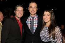 Bob Bergen, Jim Parsons and Mayim Bialik at the 2013 Performers Emmy Celebration