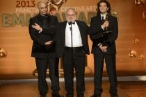 George A. Lara, Frank Stettner and Mark De Simone accept the award for Outstanding Sound Mixing for a Comedy or Drama Series