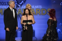 Todd Kleitsch, Deborah Lamia Denaver and Deborah Rutherford on stage at the 65th Creative Arts Emmys