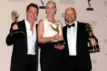 Howard Cummings, Barbara Munch-Cameron, and Patrick Sullivan at the 65th Creative Arts Emmys