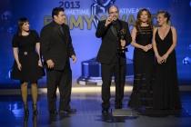 Amy Tagliamonti, Josh Turi, Louie Zakarian, Daniela Zivkovic, and Melanie Demitri, winners for Saturday Night Live , Outstanding Makeup for a Multi-Camera Series or Special (Non-Prosthetic)