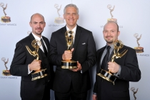 Steve Kelley, Todd Kleitsch and Jamie Kelman at the 65th Creative Arts Emmys