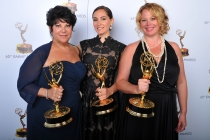 Francesca Paris, Lisa Dellechiaie, and Sarah Stamp at the 65th Creative Arts Emmys