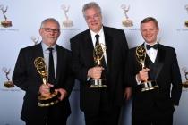 Elliot Scheinet, Tom Fleischman, and Bret Johnson at the 65th Creative Arts Emmys