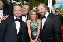 Aaron Paul, Bryan Cranston, Leslie Mann and Judd Apatow on the Red Carpet at the 65th Emmys