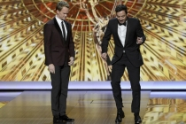 Neil Patrick Harris and Jimmy Fallon on stage at the 65th Emmys