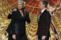 Jane Lynch, Jimmy Kimmel and Neil Patrick Harris on stage at the 65th Emmys