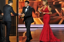 Jim Parsons, Jimmy Kimmel, and Sofia Vergara on stage at the 65th Emmys