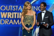Connie Britton and Blair Underwood on stage at the 65th Emmys