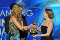 Connie Britton, Blair Underwood and Sarah Bromell on stage at the 65th Emmys