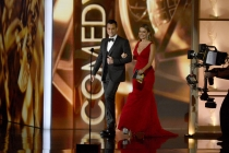 Jimmy Kimmel and Sofia Vergara onstage at the 65th Emmys