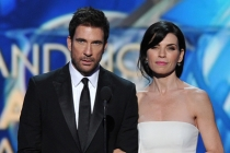 Dylan McDermott and Julianna Margulies on stage at the 65th Emmys