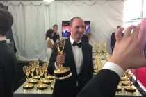 Tony Hale backstage at the 65th Emmys