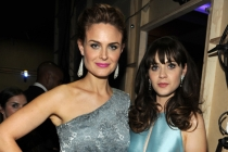Emily and Zooey Deschanel backstage at the 65th Emmys