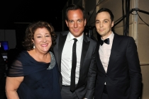 Margo Martindale, Will Arnett, and Jim Parsons on stage at the 65th Emmys