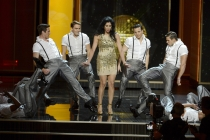 Sarah Silverman on stage at the 65th Emmys