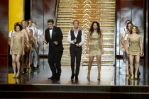 Nathan Fillion, Neil Patrick Harris and Sarah Silverman on stage at the 65th Emmys