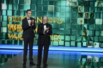 Jim Parsons and Bob Newhart on stage at the 65th Emmys