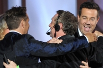Carson Daly and Mark Burnett on stage at the 65th Emmys