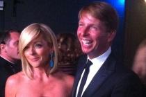 Jane Krakowski and Jack McBrayer backstage at the 65th Emmys
