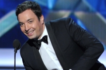 Jimmy Fallon on stage at the 65th Emmys
