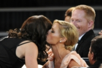 Gail Mancuso celebrates her Emmy win with Julie Bowen