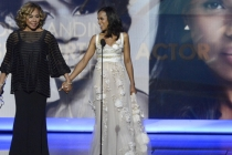 Diahann Carroll and Kerry Washington on stage at the 65th Emmys