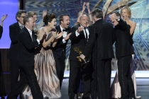The cast and crew of Breaking Bad accepts their award for Outstanding Drama Series