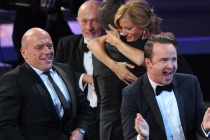 The cast of Breaking Bad celebrates their win for Outstanding Drama Series