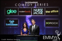 Sofia Vergara and Joel McHale at the 62nd Primetime Emmy Awards Nominations Ceremony