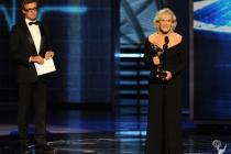 Presenter Simon Baker (L) and actress Glenn Close