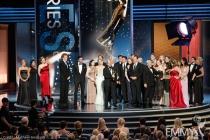 "Writer Matthew Weiner (C) with cast and crew of ""Mad Men"""