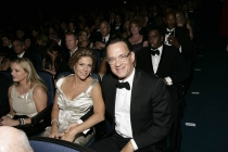 John Adams co-executive producer Tom Hanks with wife Rita Wilson at the 60th Primetime Emmys