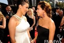 (L-R) TV personality Kim Kardashian and actress Eva Longoria Parker