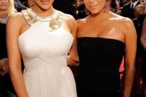(L-R) TV personality Kim Kardashian and actress Eva Longoria