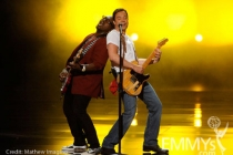 TV personality Randy Jackson (L) and host Jimmy Fallon perform onstage at the 62nd Annual Primetime Emmy Awards held at the Noki