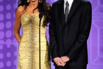 Actors Sofia Vergara (L) and Jim Parsons present an award onstage at the 62nd Annual Primetime Emmy Awards held at the Nokia