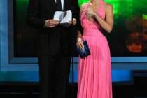 Actors Will Arnett and Keri Russell speak onstage at the 62nd Annual Primetime Emmy Awards held at the Nokia Theatre
