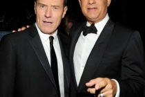 Actors Bryan Cranston and Tom Hanks attend the 62nd Annual Primetime Emmy Awards held at Nokia Theatre