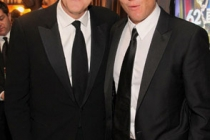 John Lithgow and Will Arnett in the Green Room during the 62nd Annual Primetime Emmy Awards held at Nokia Theatre