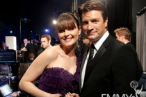 Emily Deschanel and Nathan Fillion in the Green Room during the 62nd Annual Primetime Emmy Awards held at Nokia Theatre