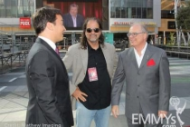 Jimmy Fallon, director Glenn Weiss & ATAS CEO John Shaffner at the red carpet rollout for the 62nd Primetime Emmy Awards