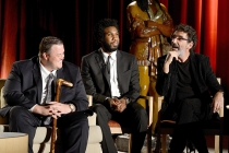 Billy Gardell and Nyambi Nyambi and Chuck Lorre
